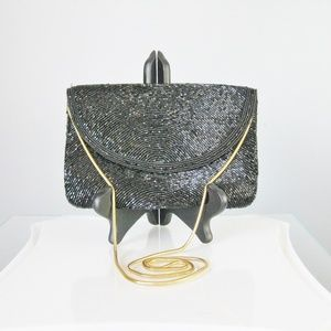 Vintage 1960s Black Beaded Evening Bag